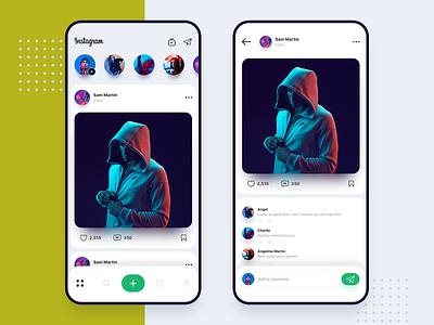 Instagram redesign concept timeline stories swipe profile uiux design ux ui concept app redesign instagram