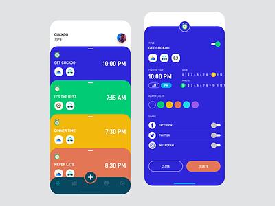 Cuckoo Alarm profile cards music time clock colorful trending app alarm app