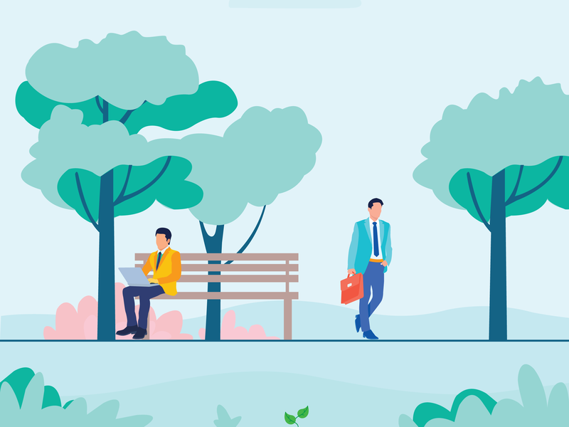 Nature Illustration design illustrator tree businessman man office colorful nature illustration