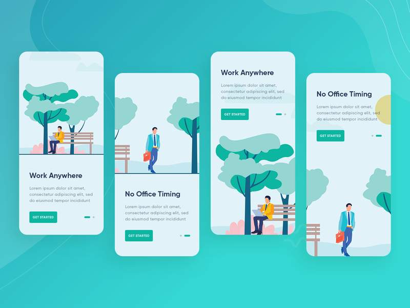 Onboarding Screen nature tree man colorful trending iphonex onboarding screen design uiux app motion swipe animation instruction screens illustration onboarding