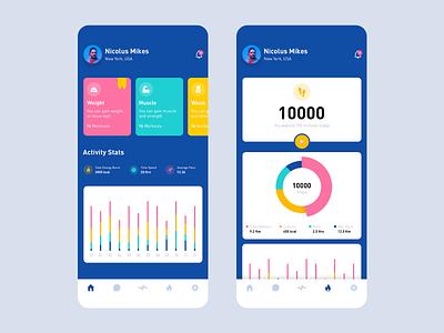 Workout App iphonex ios graphs cards energy run calories stats statistics design uiux mobile app colorful app excercise workout