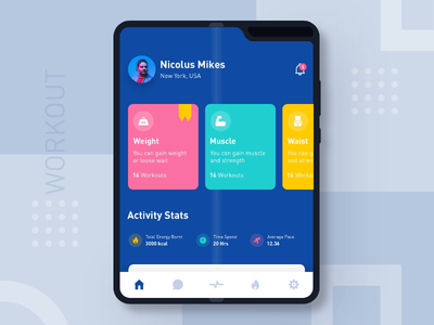 Workout App map cards chart dashboard activity tracker material icons galaxy galaxy fold statistics stats graph mockup mobile gym workout ios app workout app