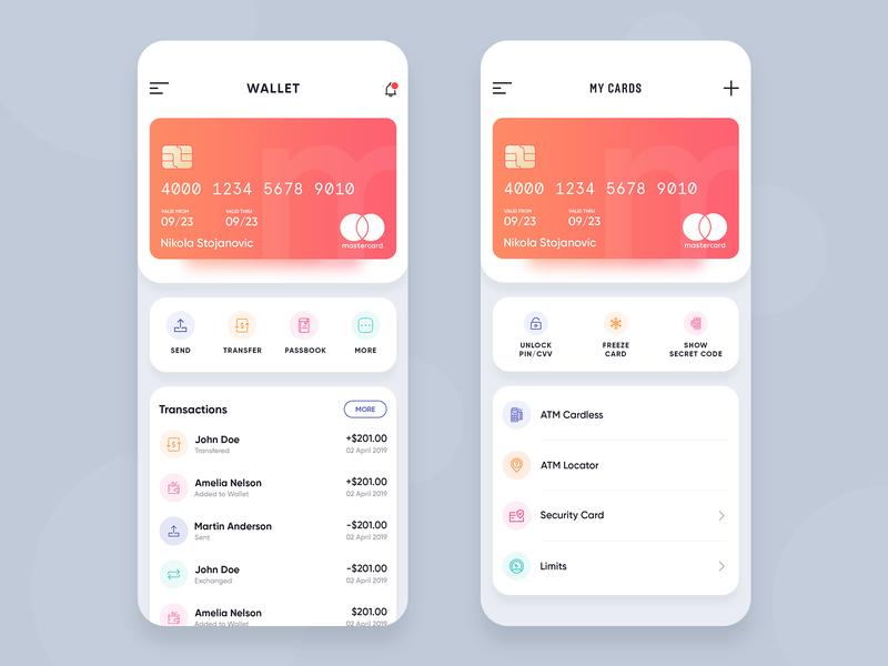 Wallet app ios minimal gradient credit card request money send money cards transaction uiux design app wallet transfer money wallet app