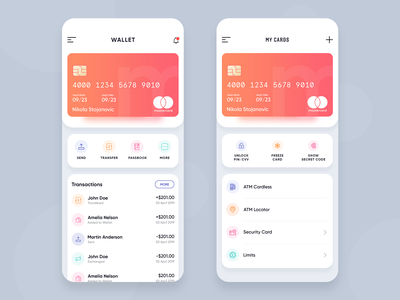 Wallet app ios minimal gradient credit card request money send money cards transaction uiux design app wallet transfer money wallet app