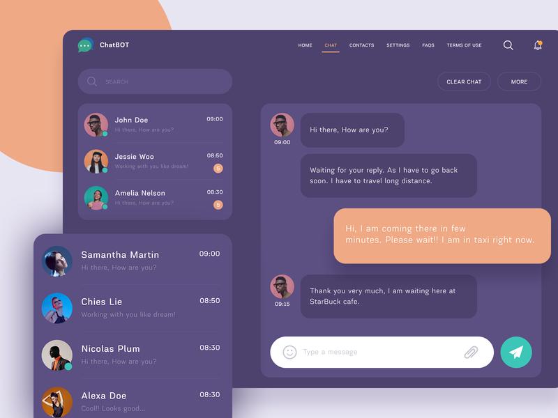 Chatbot webdesign messaging ux ui web web design design landing page website contacts chatbot profile messages chat