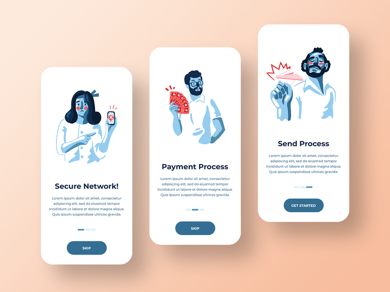 Onboarding screens instruction screen design ux ui app illustration onboarding screen onboarding