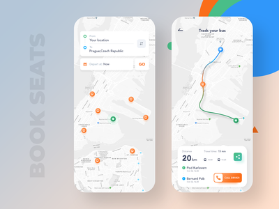 Bus ride driver routes map app design design app seats bus booking booking bus