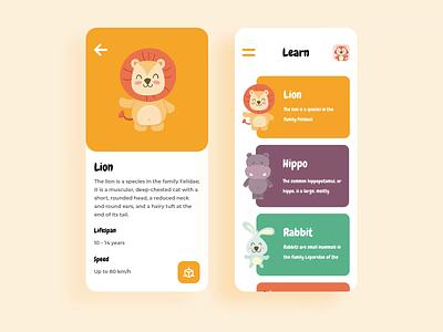 Kids Learn education education app slider design motion animation illustration animals learning app cards kids app