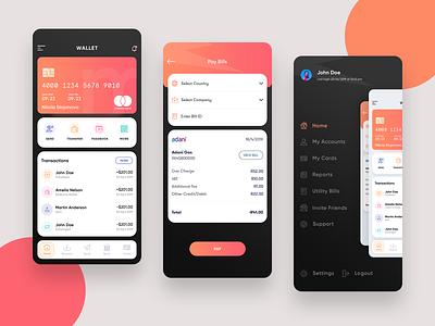 Payment app transfer send money pay bill utility colorful dark design app payment payment app