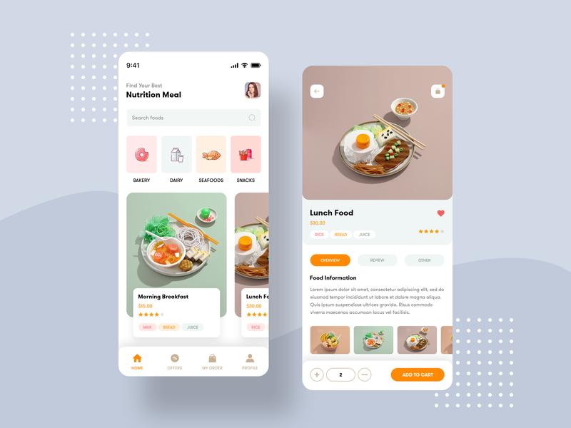 Food app lunch meal breakfast food menu category android ios app food app