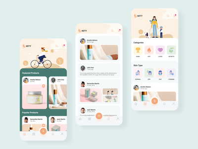Beauty app skin cards illustration cosmetics beauty products products salon design app design app beauty beauty app