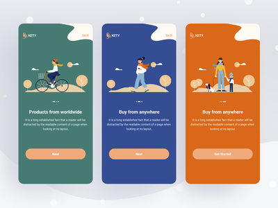 Onboarding Screens illustration colorful design instruction app design onboarding app onboarding screen