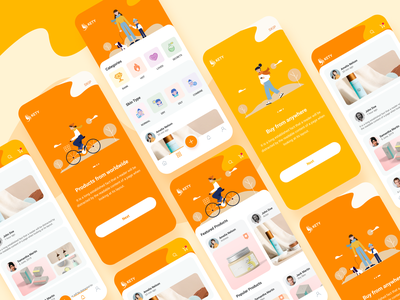 Kety app onboarding screens beauty app home screens illustration colorful product design beauty app design design app