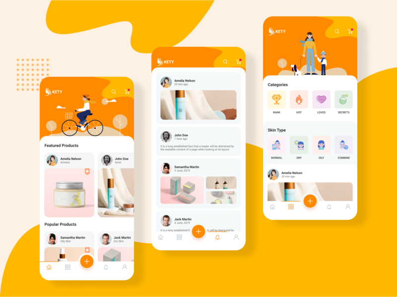Beauty app onboarding screens home screens colorful illustration cosmetic beauty salon app design design app beauty app beauty