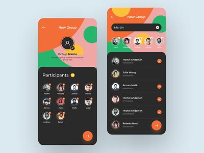 Messaging app create group create create group colorful dark app designer app design message app messaging app message