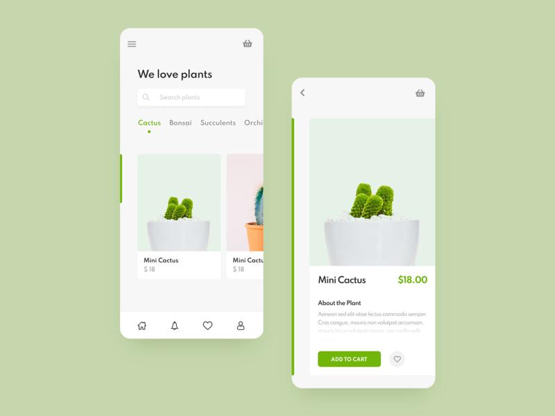 Plants Mobile App ecommerce plants green web app design app clean design clean design ui