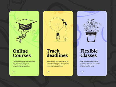 courses - steps illustration app design app design ui colors