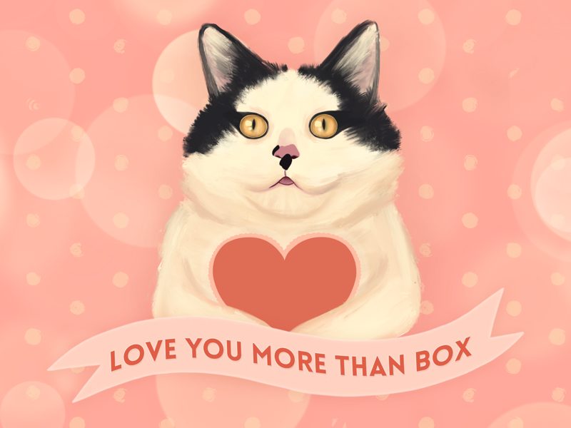 Love you more than box heart romantic valentine love pink procreate art illustration cat