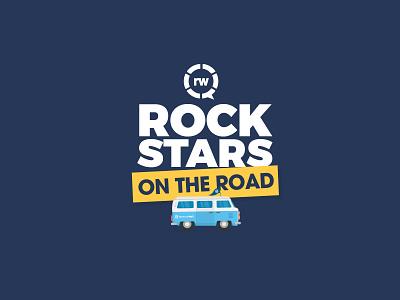 Rockstars On The Road design minimal vector dental travel road rockstar van business flat logo illustration simple