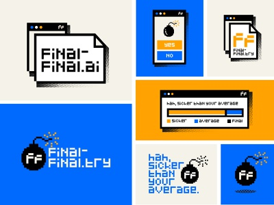 Final Final branding minimal mark brand logo flat biggie texture ui final designer bomb simple