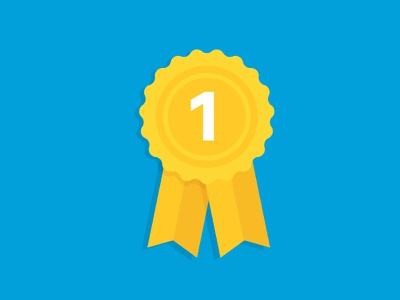 1st Place! win brand graphic clean icon gold minimal simple first illustration flat ribbon