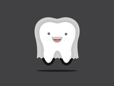 Happy Halloween costume ghost halloween flat illustration tooth dentist revenuwell minimal freckles character icon