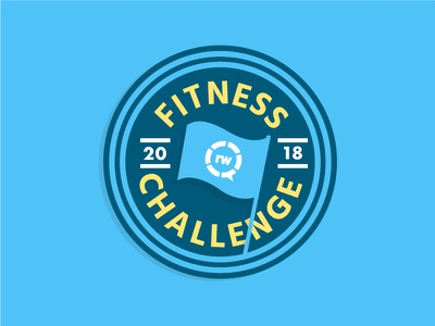 Fit Life! flag simple fit new year challenge fitness logo badge
