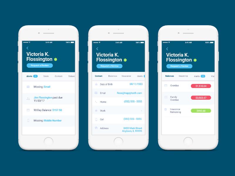 RW Mobile App tech insurance alerts balances contect ios profile dentech dentist dental productdesign product ux uiux ui mobile app mobile