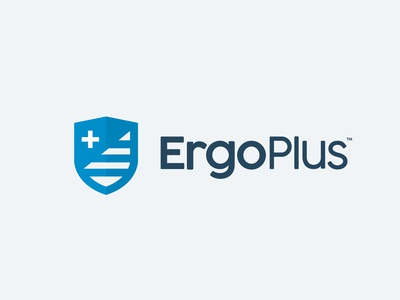 Ergo Plus - Concept stripes plus crest shield ergonomic branding design type minimal vector mark brand logo