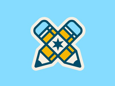 Midwest Designers Sticker sticker mule sticker x star chicago pencil identity design branding vector flat logo illustration
