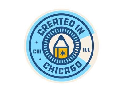 Created in Chicago Badge type minimal vector flat illustration design illinois sticker pencil chicago creatives badgedesign logo badge