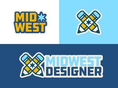 Midwest Designer Brand typography minimal mark flat simple prarie star midwest type badge pencil midwest logo brand