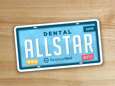 Dental Allstar design minimal vector flat simple illustration revenuewell plate hustle dentist dental allstar licence plate sticker