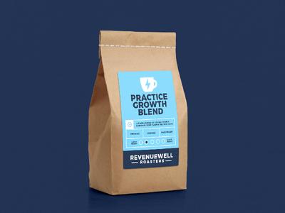 RevenueWell Roasters cafe coffee bean roaster blend coffee packaging mockup packaging identity branding minimal vector mark logo simple