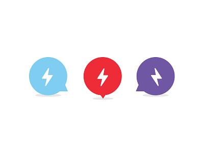 Thunder & Lightning minimal vector mark flat simple chat bubble talk chat icons lightning bolts lightning bolt lightning graphic  design graphic icon