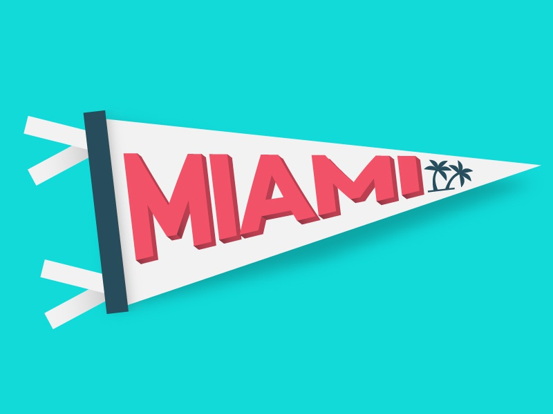 Deskpass: Miami florida south beach minimal palmtree vecotr simple illustrator social release coworking miami pennant