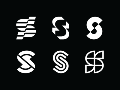 S set logo branding design icon mark vector line minimalism geometry monogram logo abstract sketch s