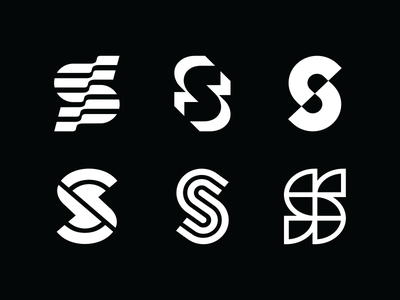 S set logo branding design icon mark vector line minimalism geometry monogram logo abstract sketch s