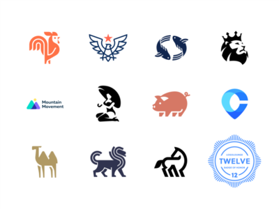 Logo Lounge book 12 logolounge twelve camel lion fish rooster pig woman animal geometry design icon mark logo mark book logo