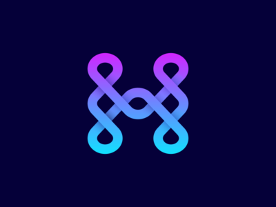 H mark letter connection fluid wave water h badim 2d minimalism illustration geometry design icon mark logo