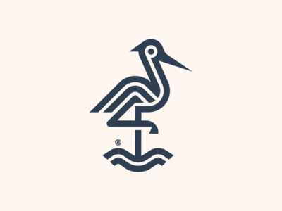 Crane mark line minimalism animal illustration geometry design icon mark logo bird heron crane