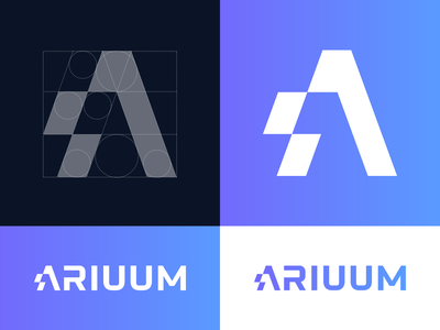Ariuum logo design vector geometry design mark logo politics gradient platform speech letter a lettering glitch freedome branding custom bolt