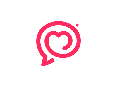 Love chat mark talk vector branding spiral circle brand line minimalism logo mark icon lovely bubble chat love