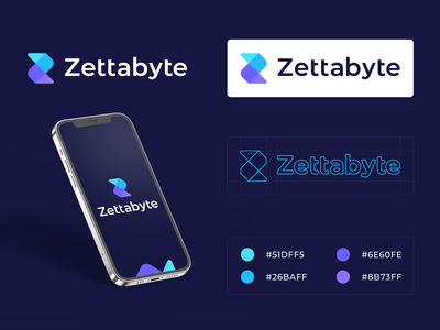 Zettabyte logo brand automática technologies digital color palette brand agency icon mark logo identity guides platform glitch z letter z finance branding brand app smart zettabyte