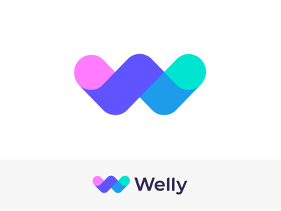 Welly | Logo concept for a weight loss app concept ios marker unused branding identity letter mark minimal geometry design logo colors smart w website app web welly