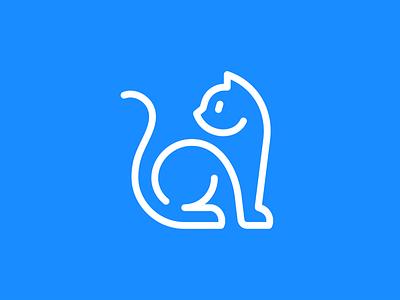 Cat mark kitty line illustration geometry design icon mark symbol simple logo animal logo marl cat animal