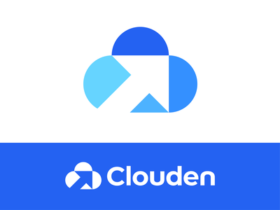 Clouden logo design web negative simple development services digital minimal logotype branding minimalism clouds geometry design icon mark arrow clouden logo cloud