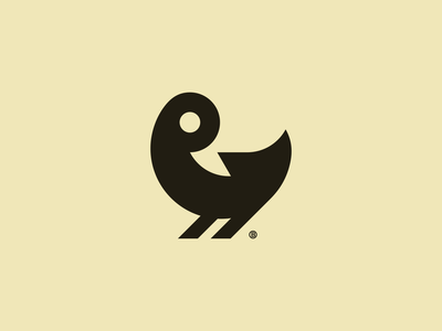 Duckling mark minimal minimalism geometry negative bird duck line animal design icon mark logo