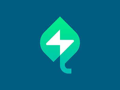 Economical energy layers geometry design icon mark logo green leaflet eco