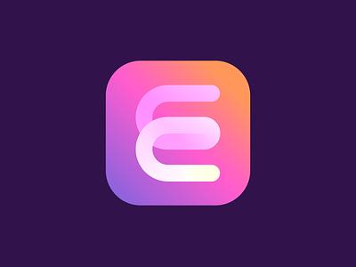 E mark design ui branding ios app line graphic design geometry gradient icon mark logo e